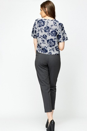 Dark Grey Straight Fit Trousers
