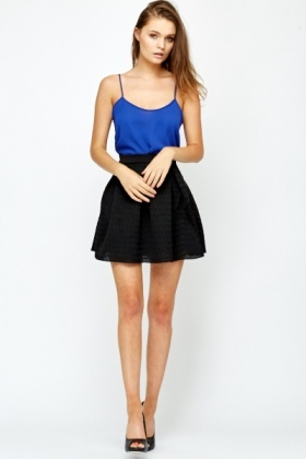 Textured High Waist Skater Skirt - Just £5