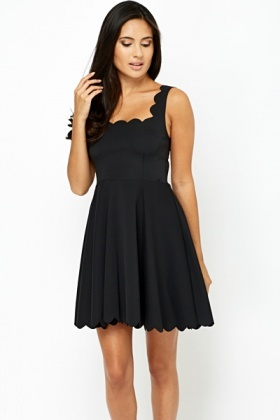 91ce593ae1cb Scallop Trim Skater Dress - Just £5