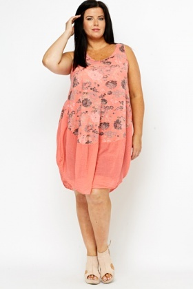 Curved Hem Flower Dress