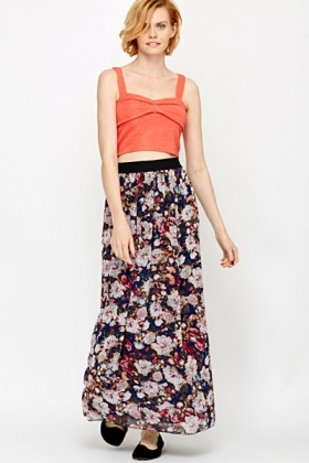 Floral High Waisted Maxi Skirt - Just £5