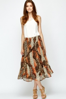 Midi Swing Printed Skirt