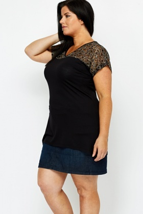 Contrast Lace Detail Top
