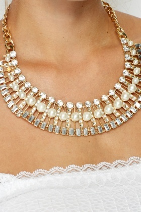 Pearl Diamante Rounded Necklace And Earrings Set