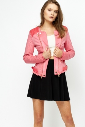Ribbed Shoulder Biker Jacket
