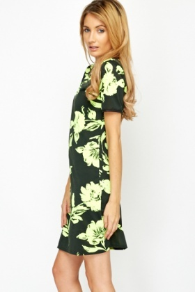 Shift Neon Yellow Floral Dress