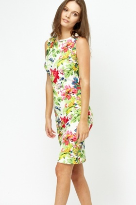 Textured Multi Floral Bodycon Dress