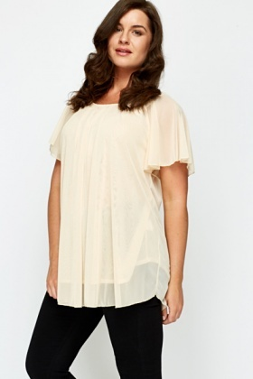 Wing Sleeves Textured Chiffon Tunic