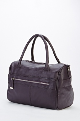 Zip Front Faux Leather Bag