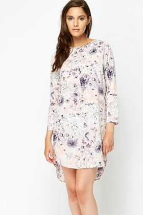 Curved Dipped Hem Floral Shift Dress