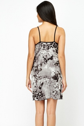 Grey Floral Chemise