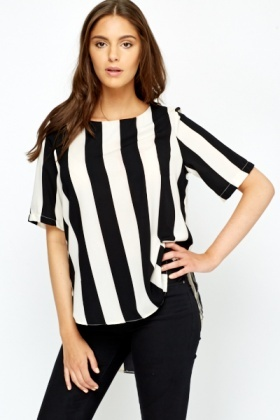Mono Stripe Side Slit Top