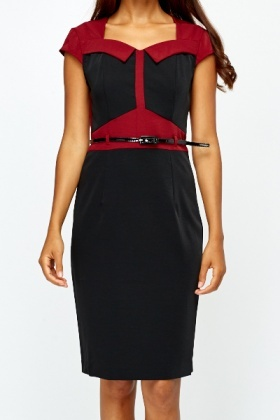 Belted Colour Block Pencil Dress