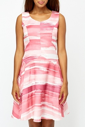 Pink Abstract Stripes Skater Dress