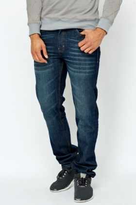 Straight Fit Bleach Wash Jeans