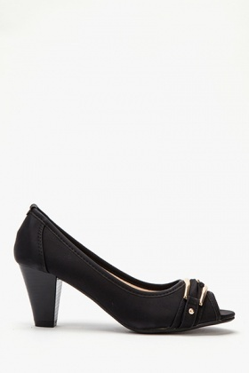 Buckle Front Low Chunky Heels - Just £5