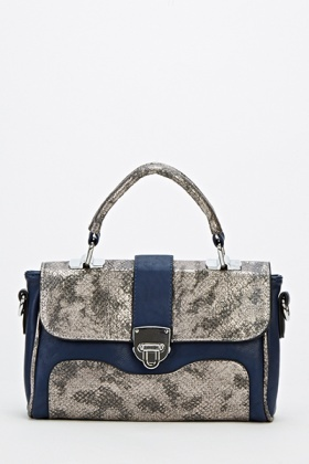 Contrast Mini Mock Crock Crossbody Bag