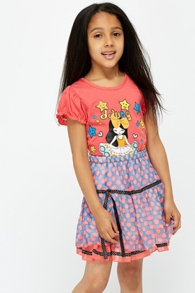 Cartoon Print Top And Skirt Set