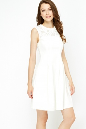Contrast Yoke Skater Dress