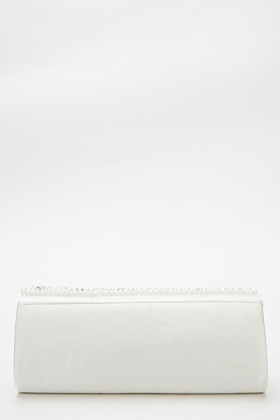 Pearl Embellished Panel Clutch Bag