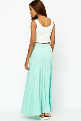 Pleated Mint Maxi Skirt
