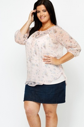 Sheer Pink Flower Blouse