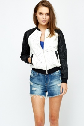 Faux Leather Contrast Bomber Jacket