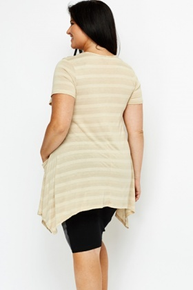 Beige Dipped Hem Striped Top