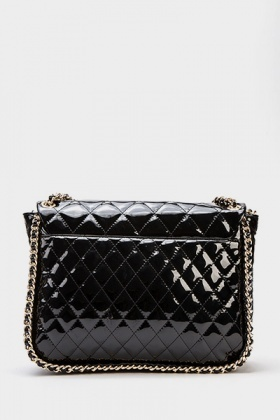 Chain Trim Quilted Patent Bag