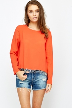 Chain Trim Round Neck Blouse