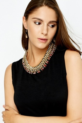 Chunky Beaded Necklace And Earrings Set
