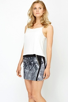 Distressed Print Zip Mini Skirt