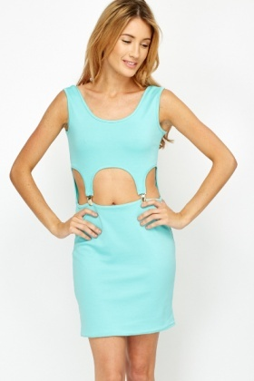 Mint Clip Front Bodycon Dress