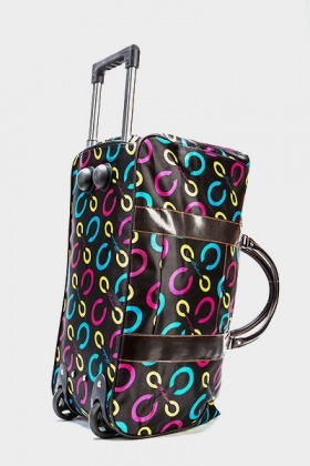 Black Multi Print Travel Bag