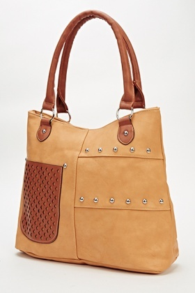 Contrast Pocket Studded Handbag