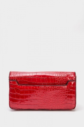 Red Mock Croc Twist Lock Clutch