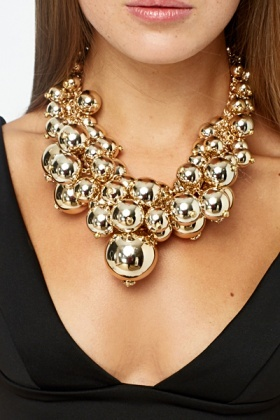 Chunky Cluster Gold Tone Necklace