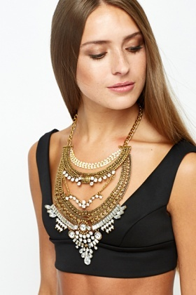 Diamante Down Collar Necklace