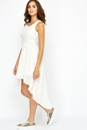 Drop Back Hem Off White Dress