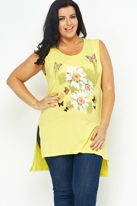 Sleeveless Daisy Print Top