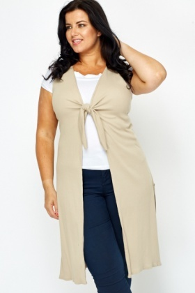 Knot Front Sand Sleeveless Cardigan