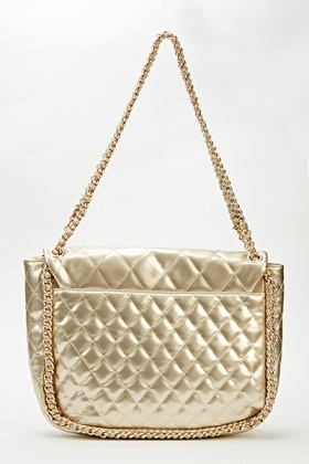 Chain Trim Gold Quilted Bag