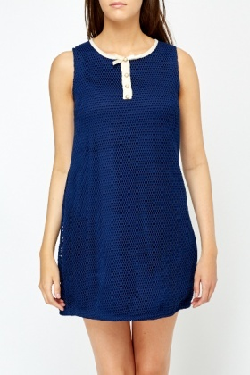 Contrast Neck Navy Shift Dress