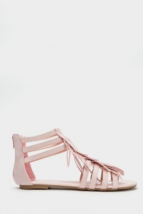 Fringed Gladiator Sandals
