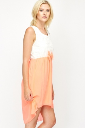 Neon Pink Dip Hem Dress