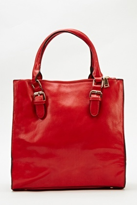 Red Faux Leather Box Bag