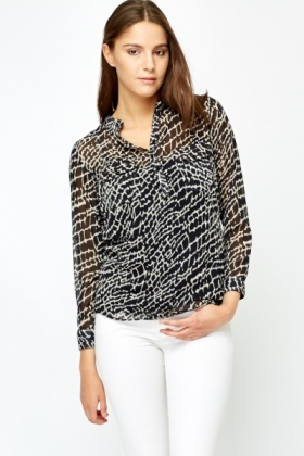 Sheer Burn Out Print Blouse