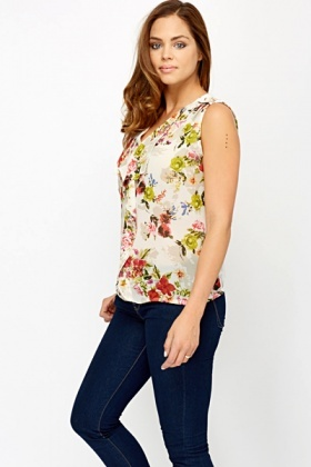 Floral Ruffled Front Lace Back Blouse