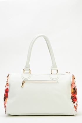 White Floral Bowler Bag