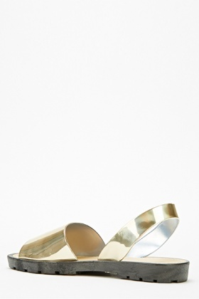 Metallic Wide Track Sole Sandals